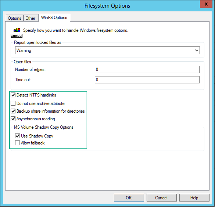 Configure Winfs Options And When All Settings Configured Safe The  Specification